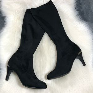 BCBG Raymona Black Knee High Heeled Boots